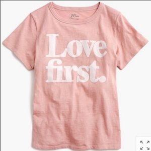 NWOT Crew Love First Pink T Shirt L